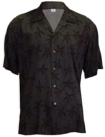ba1b70a388 Hawaiian Shirt Palm Island Forest Rayon in Black & Blue