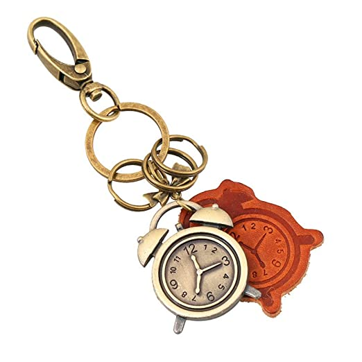 hsy Llavero, Bronce Reloj de Alarma decoración Llavero ...