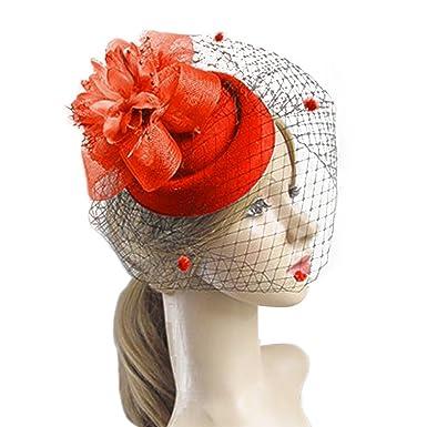 0d468219d Pillbox Hat Feather Feather Flower Veil Wedding Party Hat Fascinator ...