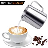 iMucci 12 oz 304 18/8 Stainless Steel Milk Frothing Pitcher - Garland Cup With Measurement Marking For Milk Tea Coffee And Latte Art