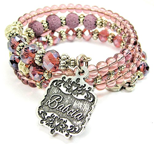 - Chubby Chico Charms Babcia Victorian Scroll Multi Wrap Beaded Bracelet in Lavender Purple