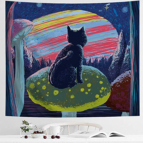 IcosaMro Psychedelic Cat Tapestry, Cute Fairy Cat Sitting On a Mushroom Wall Hanging, [Hemmed Edges& Hooks] Cool Hippie Animal Kids Wall Art Blanket for Bedroom Living Room College Dorm (51x60)]()