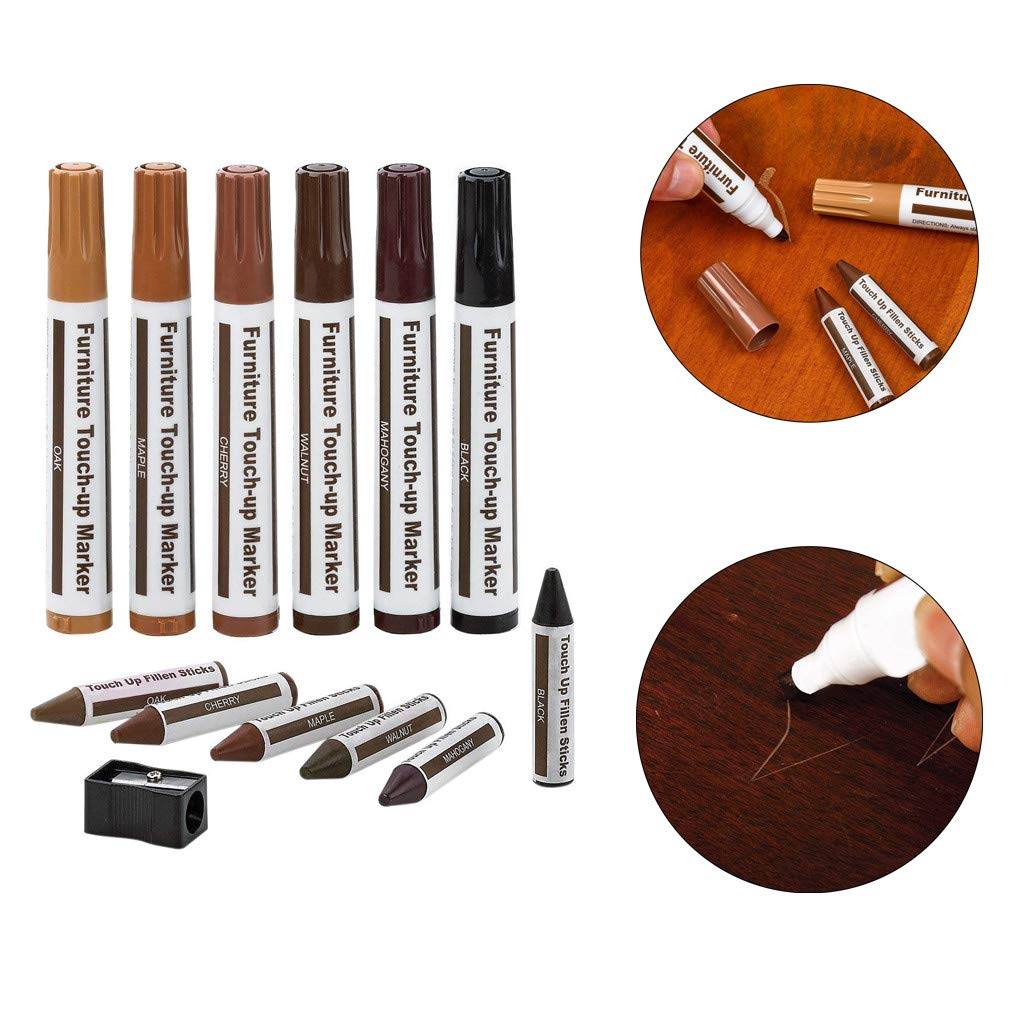 Furniture Markers Touch Up Wood Filler - Furniture Touch Up Paint Pen Set of 13 - Including 6X Furniture Repair Markers & 6X Wood Filler Wax Sticks - Sharpener Gift by LOVEER (13 Pieces)