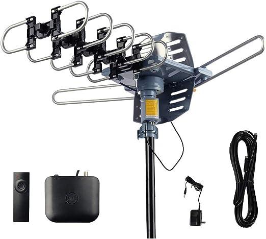 Antena digital para exteriores AirDiff, antena HDTV amplificada, rotación de 360 grados, control remoto inalámbrico, instalación sin herramientas con ...