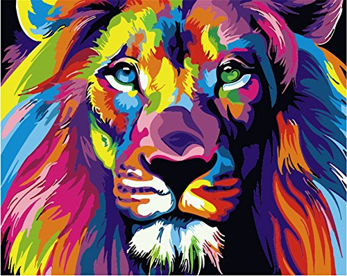 Komking Paintworks Paint By Number Kit For Adults Kids Beginner Diy Canvas Painting By Numbers For Home Decoration Colorful Lion 16x20inch