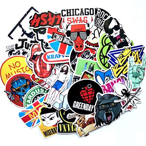 Cool Rock Stickers Pack Punk Music Band Vinyl Decals for Bumper Laptop Car Skateboard Helmet Classic Waterproof Graffiti 60 Pieces ()