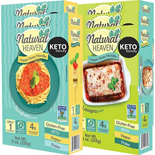 Natural Heaven | 3 Spaghetti | 3 Lasagna Hearts of Palm Noodles - Low Carb, Gluten Free, Keto Friendly, Vegan, Paleo, Non Gmo, High Fiber, Plant Based, Keto Food, Keto Noodles 6 Count 9 oz
