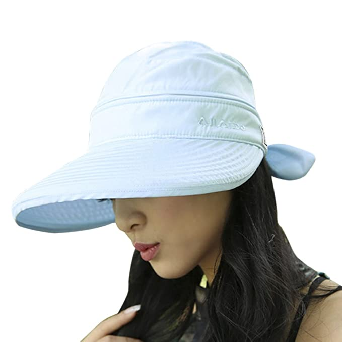 b490067d01b Womens Summer 2 In 1 Beach Sun Hat Ladies Large Wide Brim Anti-UV Golf