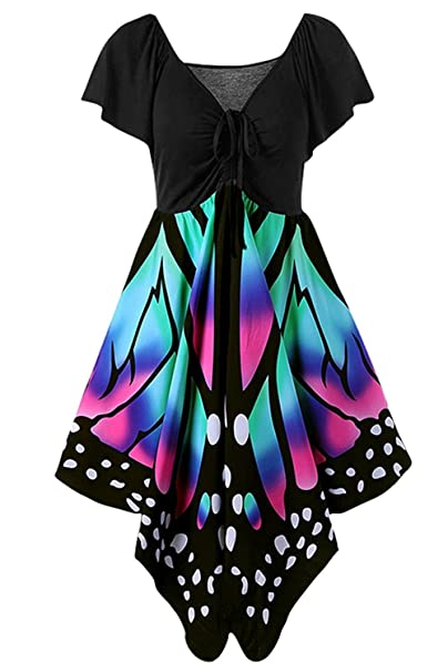 3c910eb779f6 Geckatte Women's Butterfly Print Lace up Short Sleeve Empire Waist V Neck  Dress Plus Size at Amazon Women's Clothing store: