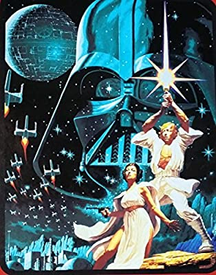 "Star Wars ""Star War"" 46"" X 60"" Mink Sherpa Throw From Disney Movie. Characters Are Darth Vader, Princess Leia and Luke Skywalker on Sherpa Thick Blanket."