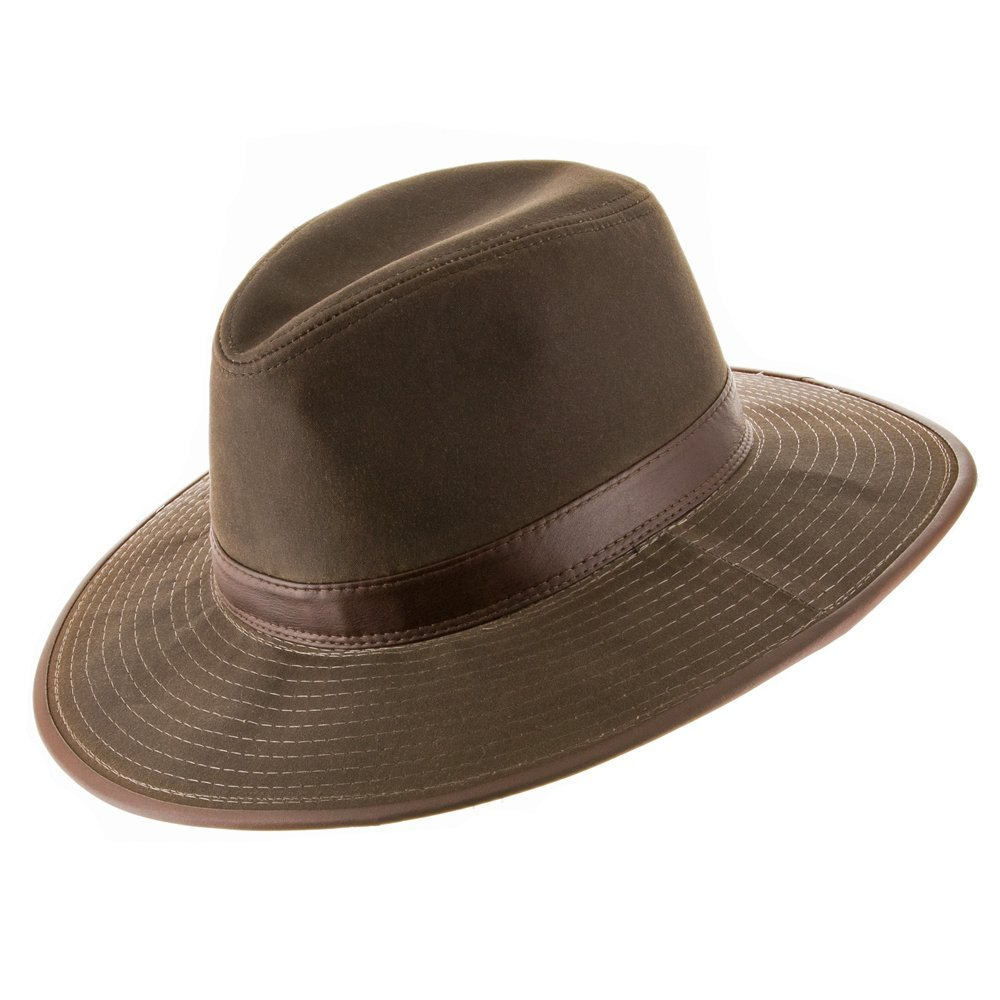 Ultrafino Seattle Oil Cloth Safari Outback Water Repellant Outdoors Hat with Chin Cord