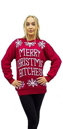 b01d1f6cf2f2b Comfiestyle New Women s Ladies Long Sleeves Merry Christmas Bitches Christmas  Jumper Dress. UK 8-