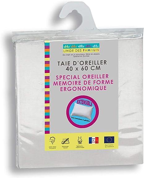 Linge des Familles Taie d'Oreiller Extensible Spécial Oreiller Mémoire de Forme 40x60 cm Coloris Blanc Fermeture zippée Certifié Œko Tex®
