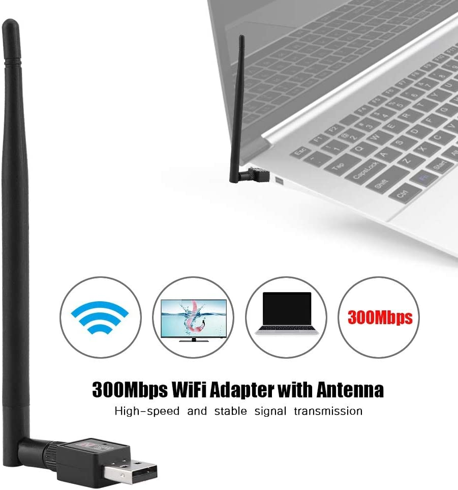 300M Network Card with 802.11b//g//n Devices Wireless WiFi Adapter Network Card 5DB 300M Network Card with Antenna USB2.0 External WiFi Receiver with Antenna