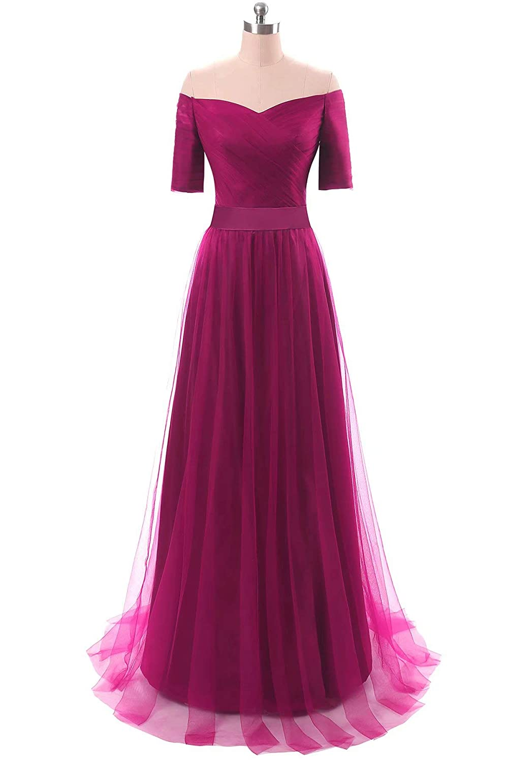 Fuchsia Honeywedding Half Sleeves V Neck Formal Evening Dresses Long Tulle Party Prom Gown