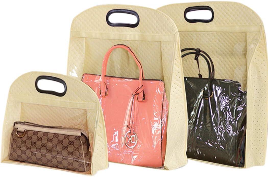 JUSTDOLIFE 3PCS Clear Purse Organizer Practical Dust Proof Handbag Protector Bag Organizer