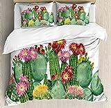 Ambesonne Cactus Decor Duvet Cover Set King Size, Saguaro Barrel Hedge Hog Prickly Pear Opuntia Tropical Botany Garden Plants, Decorative 3 Piece Bedding Set with 2 Pillow Shams, Multicolor