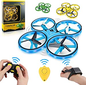Haktoys LED Drone 2.4GHz RC & Gesture Controlled Wristband Quadcopter w/ Gravity Sensor, Altitude Hover, Low Battery Warning, 360° Spins, Headless & Speed Modes, Indoor-Outdoor, Colors May Vary