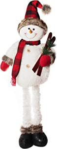 ALLYORS Handmade 29 inch Christmas Standing Plush Snowman with Tartan Hat, Scarf and Extendable Legs for Table, Fireplace Decor, Xmas Standing Figurine Dolls for Holiday Ornament,Christmas Snowman