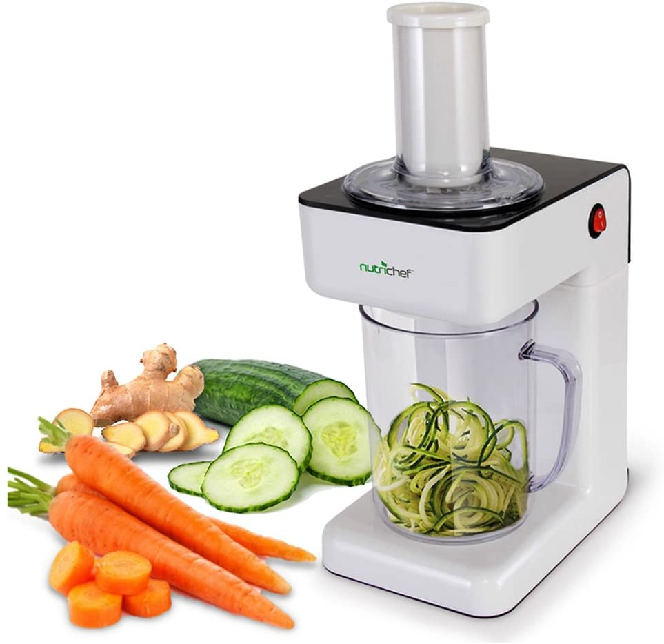 Electric Food Spiralizer Slicer Chopper - 3-in-1 Vegetable Processor, Fruit Cutter, Spiral Shredder Machine