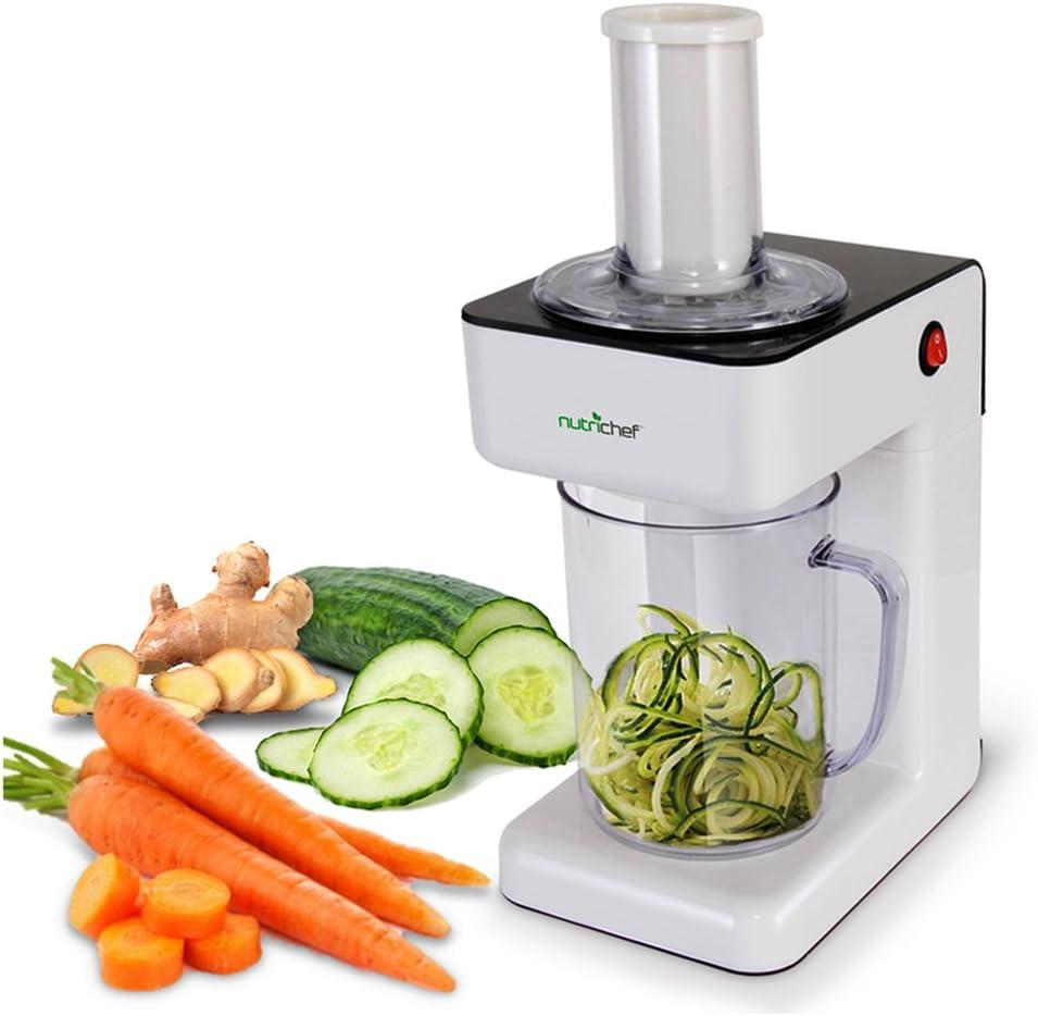 Electric Food Spiralizer Slicer Chopper - 3-in-1 Vegetable Processor, Fruit Cutter, Spiral Shredder Machine