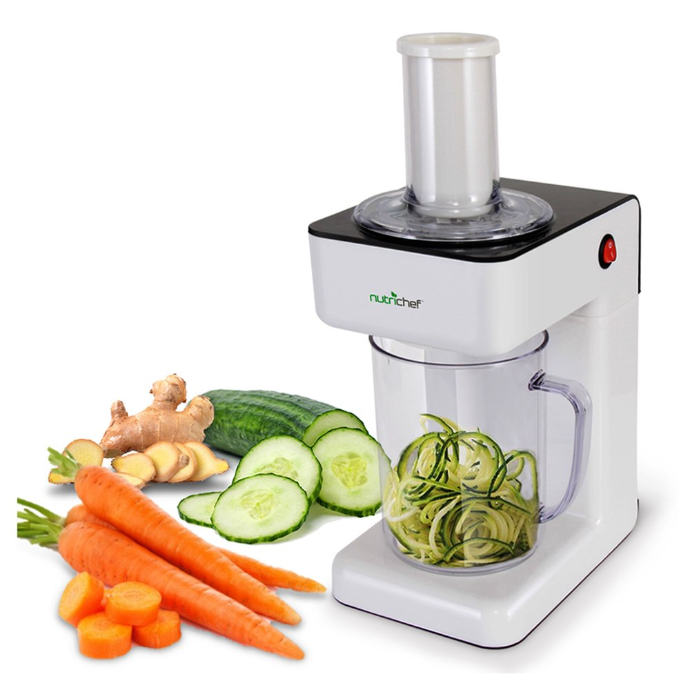 Electric Food Spiralizer Slicer Chopper - 3-in-1 Vegetable Processor, Fruit Cutter, Spiral Shredder Machine, Veggie Spaghetti Noodle, Zoodle Maker w/ 3 Cutting Blade, 1.2L Bowl - NutriChef PKESPR26 by NutriChef