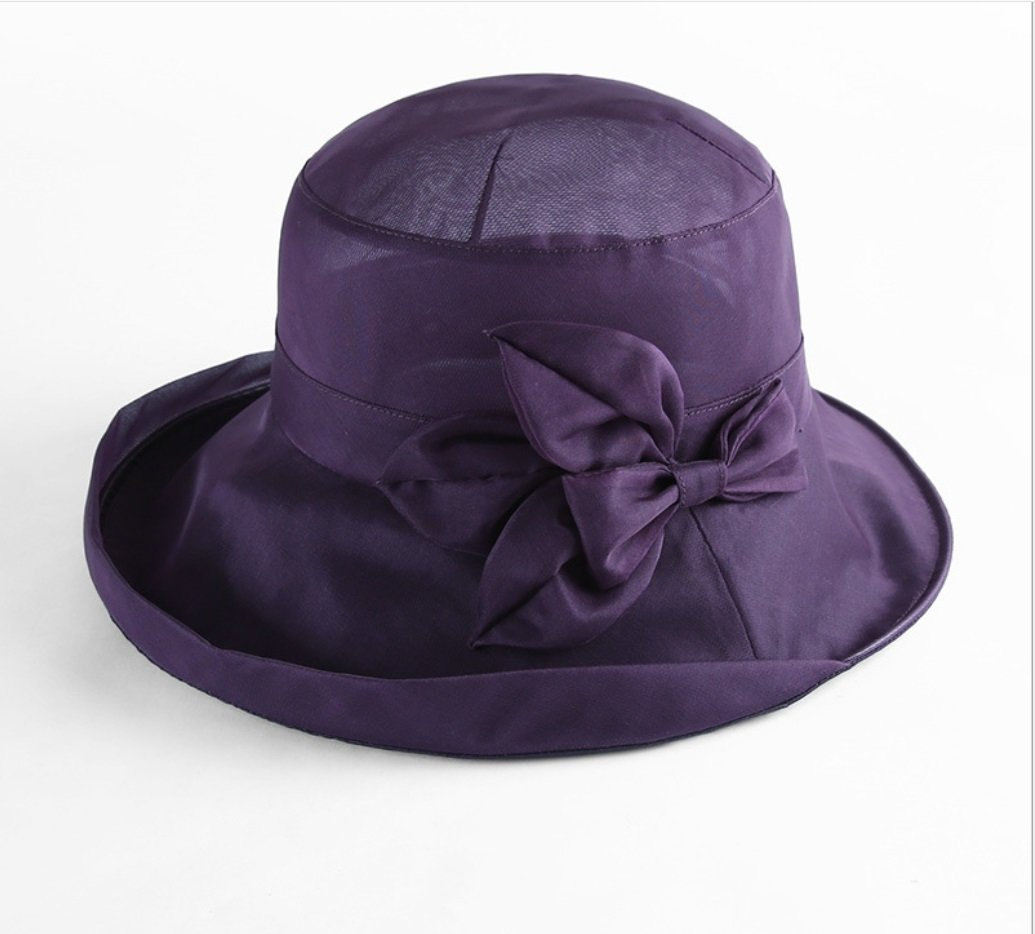 Dark purple Sunscreen Silk Cap Female Spring Summer Sun Hat Folding Beach Hat Fashion Sun Hat ZXCV