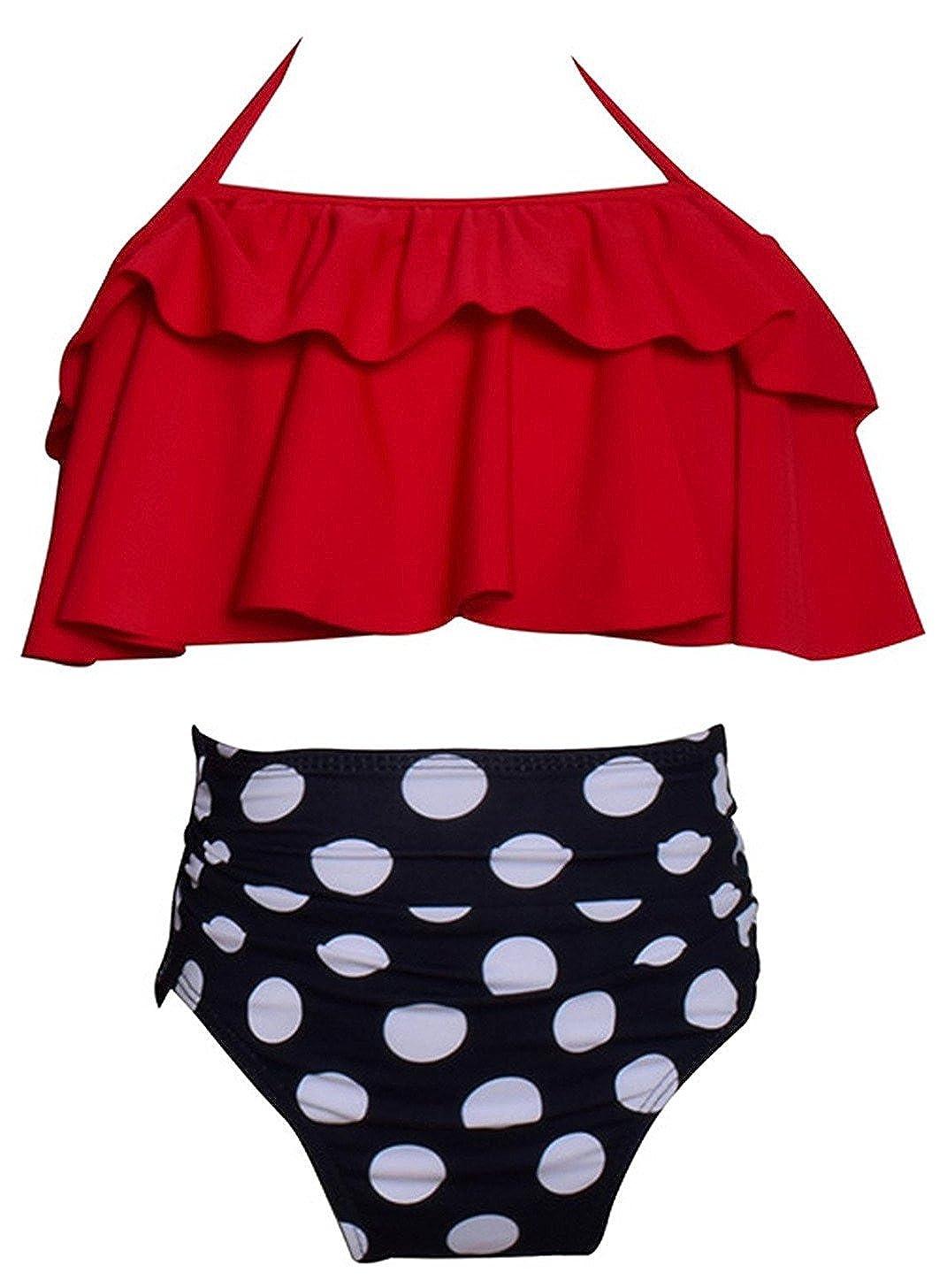 Angelchild Girl Bikini Swimsuit Set Two-Piece Ruffle Falbala High Waisted Bikini Swimwear Bathing Suits