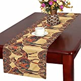 InterestPrint Tribal Camel with Oriental Ornaments Animal Table Runner Cotton Linen Cloth Placemat Home Decor for Home Kitchen Dining Wedding Party 16 x 72 Inches