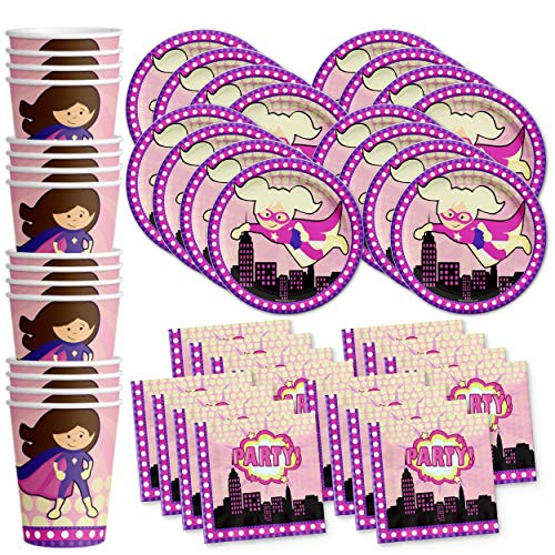 Superhero Girl Birthday Party Supplies Set Plates Napkins Cups Tableware Kit for 16 ()