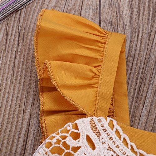 2pcs Bébé Filles Aliven / Set Barboteuse Dentelle Bodysuit Combishort Sunsuit Tenues Jaune