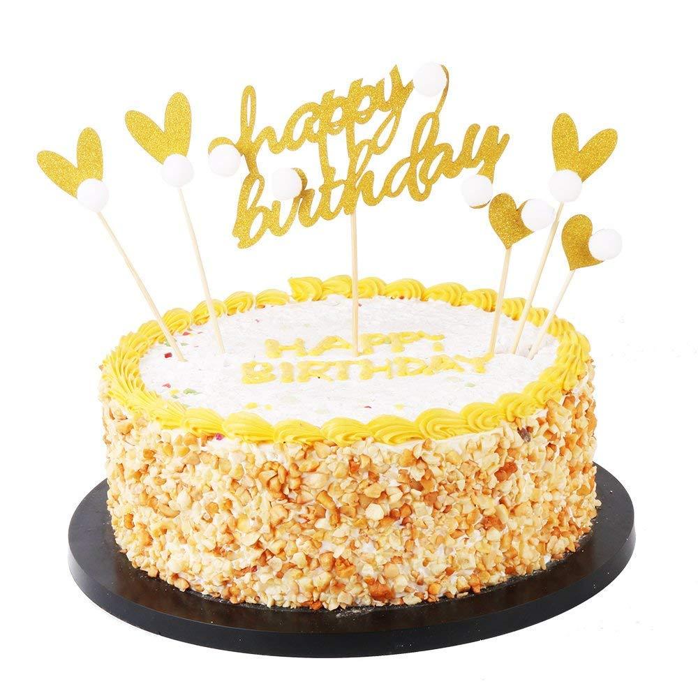 Amazon Kiskistonite 6pc Gold Glitter Happy Birthday Cake