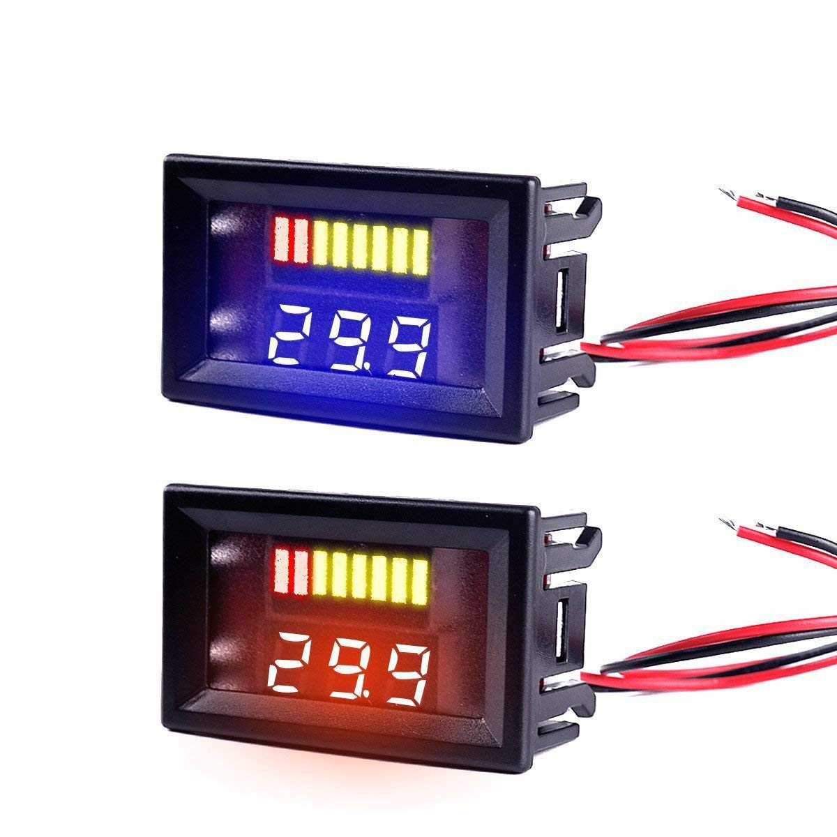 MakerHawk 4pcs Digital DC Voltmeter 0.56 inch Three-Lines 0-100V Digital Voltmeter Gauge Tester LED Display Reverse Polarity Protection and Accurate Pressure Measurement 4 Colours