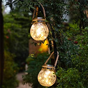 Outdoor Solar Lights,Hanging Solar Lantern for Garden, Balcony, Yard, Path, Fence Decoration,LED Lights with Cracked Jar Body,Weatherproof and Auto ON/OFF Sensor(Warm White-2pcs