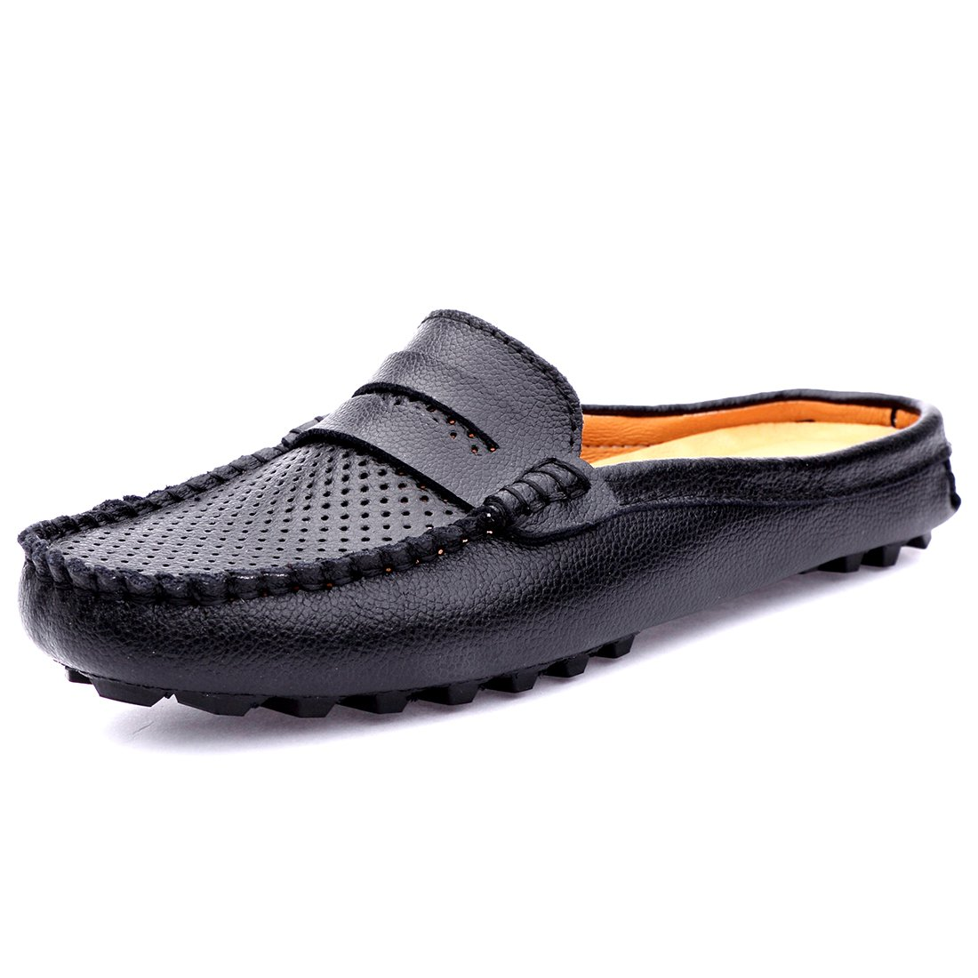 SUNROLAN 20133hei37 Women's Leather Casual Summer Breathable Slip-On Backless Slipper Mule Loafer Flats Shoes Hollow Out