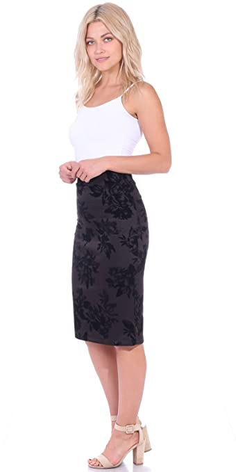 0424565640f50 Popana Women s Stretch Pencil Skirt Knee Length High Waist for Work Made in  USA at Amazon Women s Clothing store