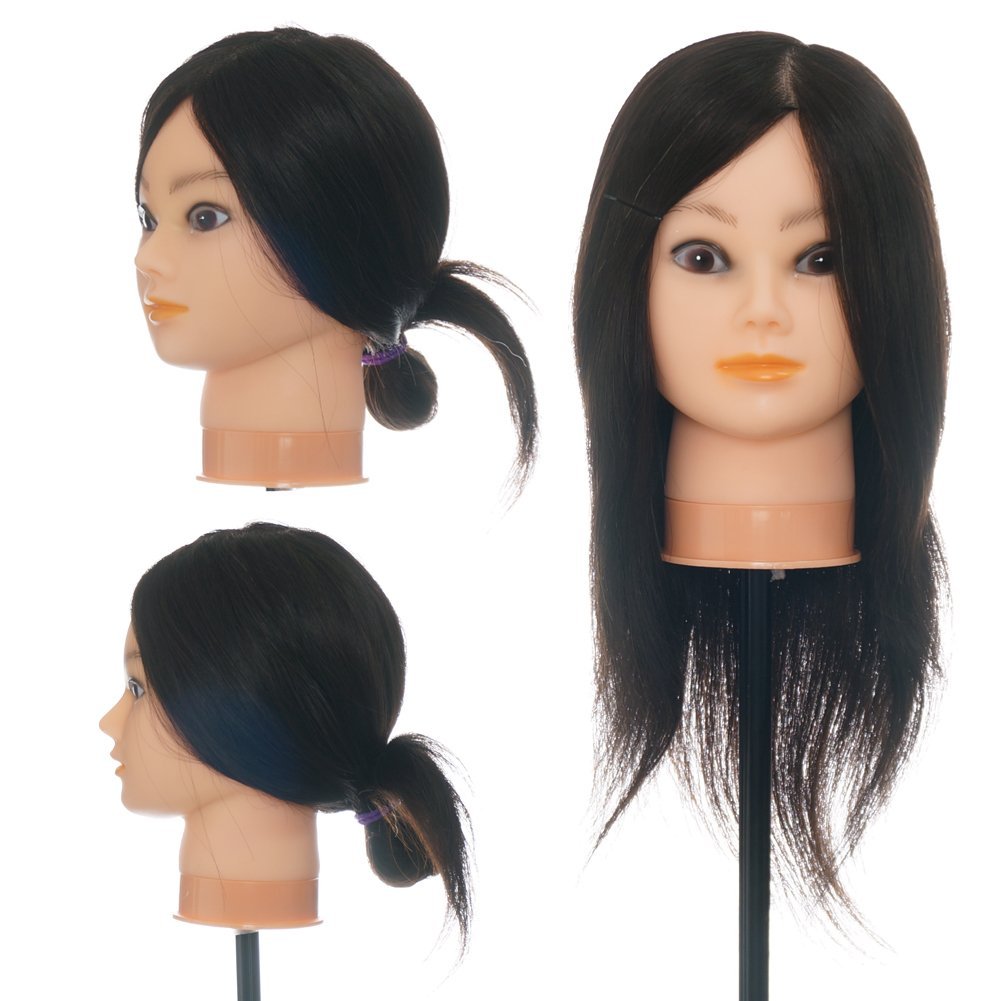 ViogrIA 20 100% REAL HUMAN HAIR Mannequin head Practice Training Head Cosmetology Mannequin Head Manikin Doll Head with Clamp & Braiding Tool