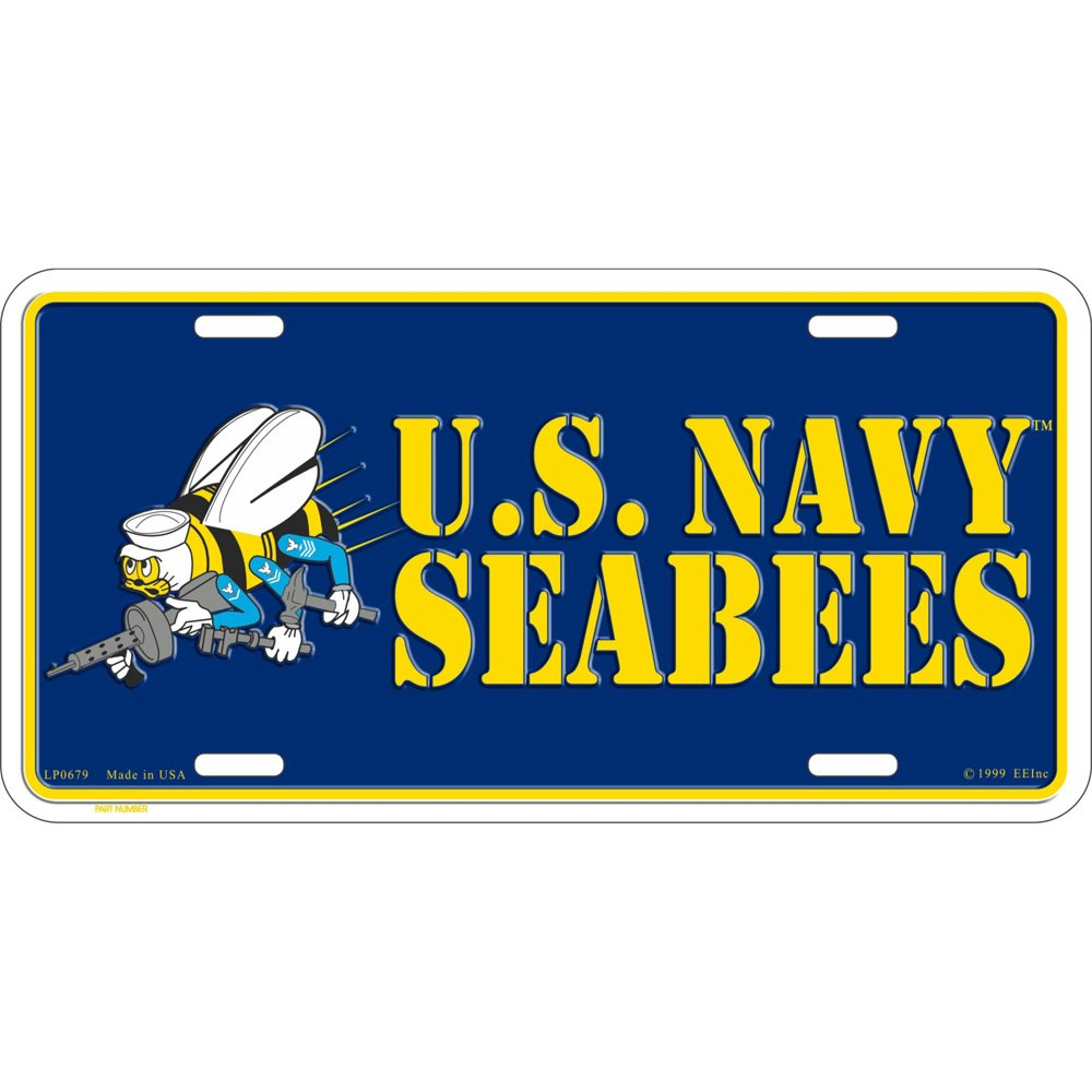 Artisan Owl United States Navy Seabees USN Automobile Metal License Plate Including Fastener Screws