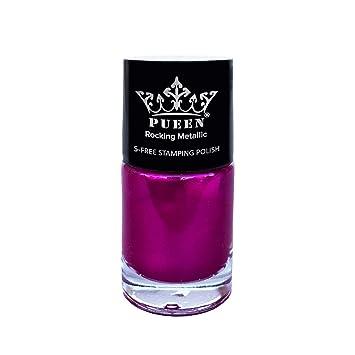 5 free formula nail polish  PUEEN Rocking Metallic Nail Polish For Nail Stamping Big 7-FREE Formula  Nail Color Lacquer (7 Twilight...