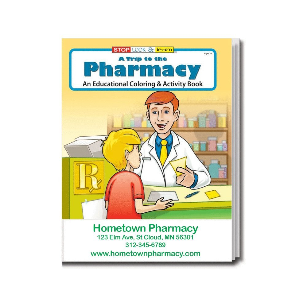 A Trip to The Pharmacy Kid's Coloring & Activity Books in Bulk (Quantity of 250) - Customize with Your Information - Pharmacy Promotional Item by Safety Magnets (Image #1)