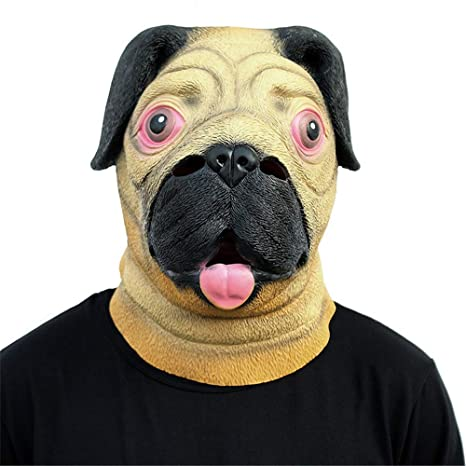 scary mask halloween kidsrealistic lovely pug animal head mask halloween costume party props latex