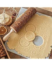 Christmas Best Gift!!!Natarura Christmas Rolling Pin Engraved Carved Wood Embossed Rolling Pin Kitchen Tool