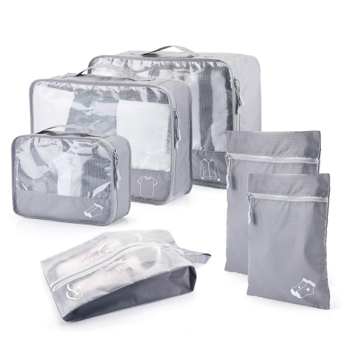 Organisateur de voyage, morpilot 6PCS Organisateur de valise Organisateur de sac avec Tissu imperméable ne se froissant pas Fermeture à glissière robuste