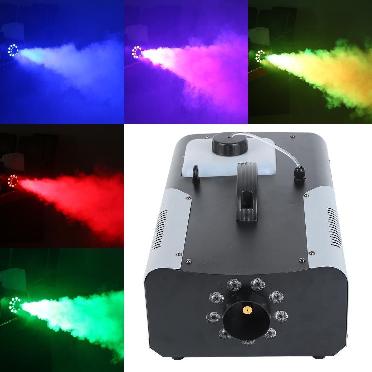 Tengchang 1500W Smoke Fog Machine RGB 8 LED DJ Party Stage Light Wire/Remote Controller J0201546X-US