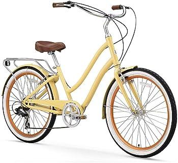 sixthreezero EVRYjourney Women's Step-Through Hybrid Alloy Beach Cruiser Bicycle (24-Inch, 26-Inch, and eBike)