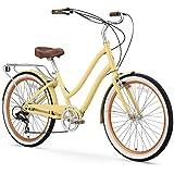 "sixthreezero EVRYjourney Women's 7-Speed Step-Through Hybrid Cruiser Bicycle, 26"" Wheels with 17.5"" Frame, Cream with Brown S"