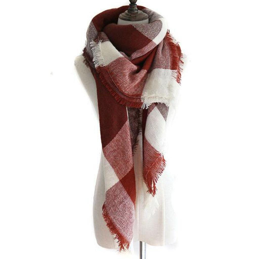 Mujer Mantener caliente chal Otoño e invierno Frío enrejado Cuadrado