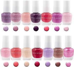 B.C. Beauty Concepts Nail Polish Set, 14 Mini Nail Polish Colors, Polish Kit for Fingernails and Toenails