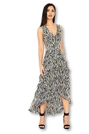 8f0e36ad5ec65 Amazon.com: AX Paris Women's Zebra Animal Print Midi Dress(Cream, Size:12):  Clothing