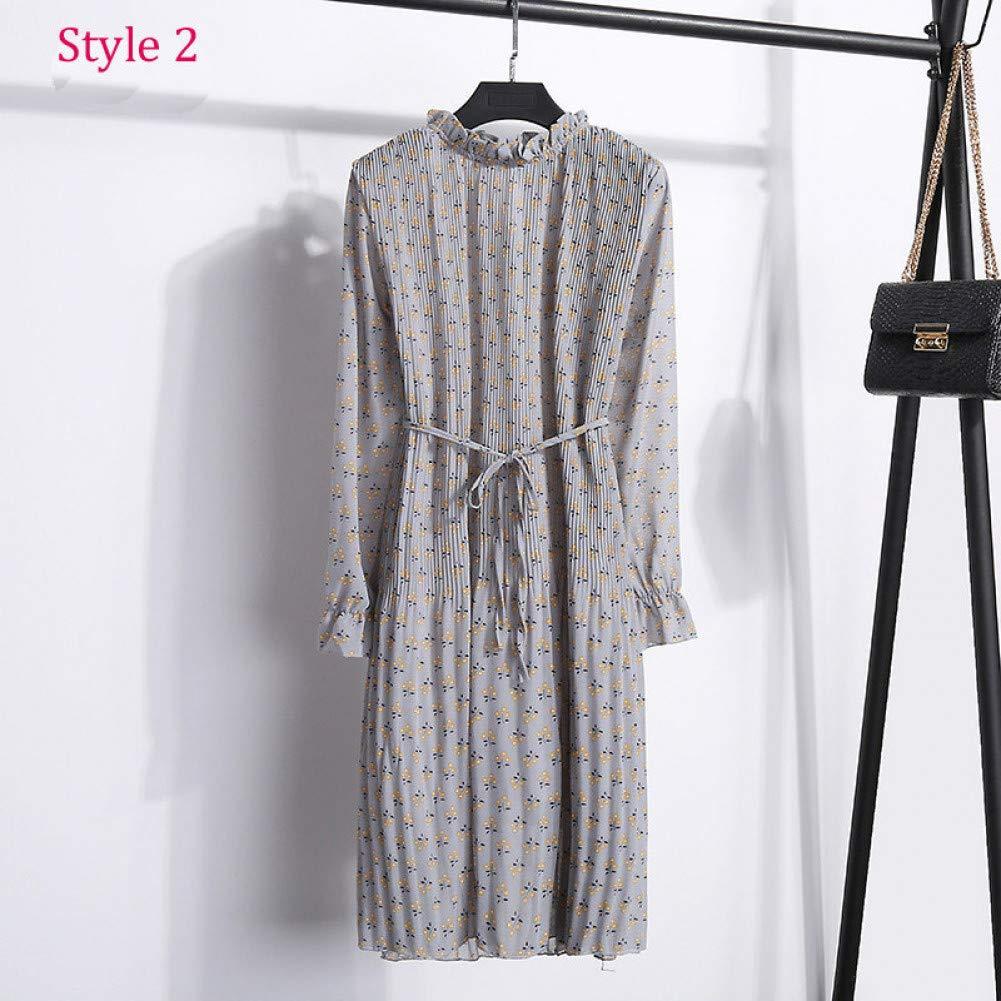 Style 2 MTBDLYQ Robe De Dames,Deux Couches Robe Florale Taille élastique Les Femmes Printemps Une Ligne Fine Dentelle Femme Robe Bohème Manchon évasé S